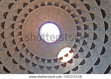ROME - DECEMBER 18: Inner view of the Pantheon on December 18, 2011 in Rome. The Pantheon is one of the best-preserved of all Roman buildings and it has been used as a Roman Catholic church.