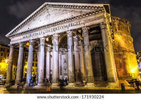 ROME-DECEMBER 7: The Pantheon at night on December 7, 2013 in Rome, Italy. The Pantheon is a building in Rome, Italy to all the gods of ancient Rome rebuilt by the emperor Hadrian about 126 AD. - stock photo
