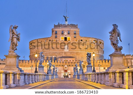 ROME - DECEMBER 9: View of Castel Sant Angelo at night, on December 9, 2012, in Rome, Italy. - stock photo