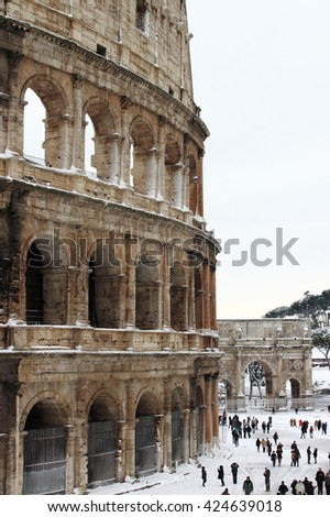 ROME - FEB 4: Colosseum after the heavy snowfall on February 4, 2012 in Rome. The last snowfall in Rome was in 1985 - stock photo