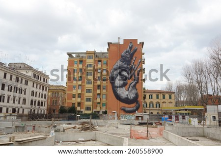 ROME - FEBRUARY 21, 2015:  The mural graffiti painted by Roa for the Avanguardie Urbane Roma Street Art Festival 2014  in Testaccio area  - stock photo