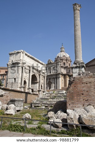 Rome - forum romanum - the arch of Triumph of Septimus Severus and st. Lucke chruch