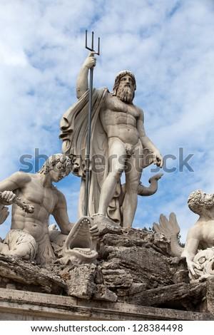 Rome - Fountain of Neptune in Piazza Popolo - stock photo