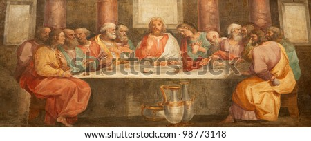 Rome - fresco of Last super of Christ form church Santa Prassede