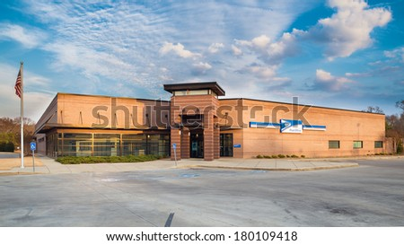 ROME, GA - MARCH 2, 2014: Main Post Office branch for the U.S. Postal Service in Rome, Ga., on March 2, 2014. The U.S. Postal Service processed more than 158 billion pieces of mail in 2013.