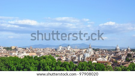 Rome historic center city skyline as seen from Castel Sant'Angelo