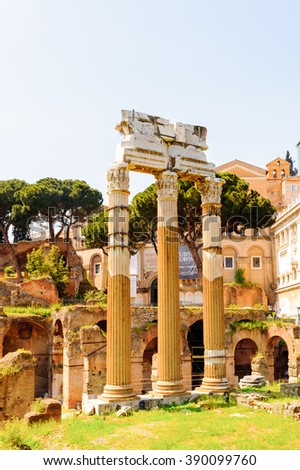 ROME, ITALY - APR 7, 2013: Roman Forum, a rectangular forum surrounded by the ruins of several important ancient government buildings at the center of the city of Rome.