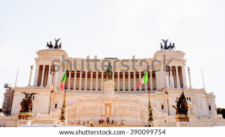 ROME, ITALY - APR 7, 2013: The Altare della Patria  or Il Vittoriano , a monument built in honour of Victor Emmanuel, the first king of a unified Italy, Rome. - stock photo