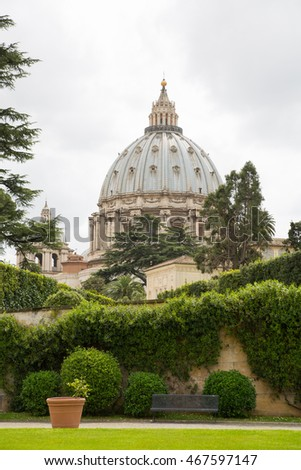 ROME, ITALY - APRIL 8, 2016:  Basilica of Saint Peter. Vatican. View from the garden