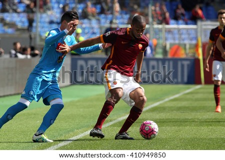 ROME, ITALY - April 2016 : Callejon Keita Digne in action during fotball match  serie A  League 2015/2016 between A.s. Roma  vs Napoli  at the Olimpic Stadium  on april 25, 2016 in Rome. - stock photo