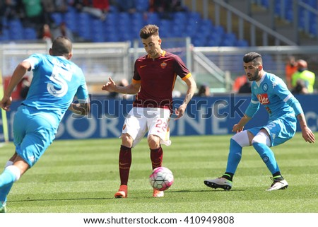 ROME, ITALY - April 2016 : El Shaarawy Hysaj in action during fotball match  serie A  League 2015/2016 between A.s. Roma  vs Napoli  at the Olimpic Stadium  on april 25, 2016 in Rome. - stock photo