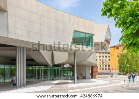 ROME, ITALY -April 13, 2016 : External view of the Maxxi National Museum. It is a national museum of contemporary art designed by British architect Zaha Hadid in 2010.