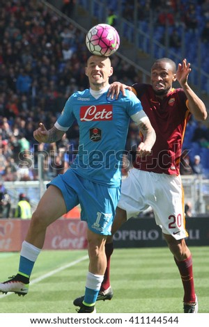 ROME, ITALY - April 2016 : Hamsikc Keita in action during fotball match  serie A  League 2015/2016 between A.s. Roma  vs Napoli  at the Olimpic Stadium  on april 25, 2016 in Rome. - stock photo