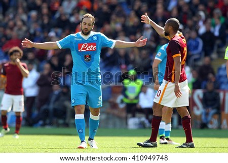 ROME, ITALY - April 2016 : Higuain in action during fotball match  serie A  League 2015/2016 between A.s. Roma  vs Napoli  at the Olimpic Stadium  on april 25, 2016 in Rome. - stock photo
