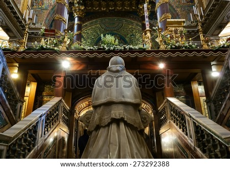 ROME, ITALY - APRIL 9, 2015:  Interior of the church of Santa Maria Maggiore, Detail of the Crypt of the Nativity  - stock photo