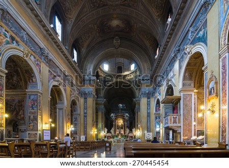ROME, ITALY - APRIL 16, 2013: Interior of the Roman Catholic Titular Church Santa Maria in Traspontina (or Transpontina). It is a Carmelite church in street Via della Conciliazione, Rome, Italy. - stock photo