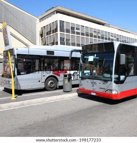 ROME, ITALY - APRIL 9, 2012: Mercedes bus operated by ATAC in Rome. With 350 bus lines and 8000 bus stops, ATAC is one of the largest bus operators in the world.
