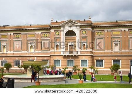 ROME, ITALY - APRIL 8, 2016: Museums of Vatican building. View from the inner yard of Pop's garden
