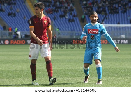ROME, ITALY - April 2016 : Perotti Insigne in action during fotball match  serie A  League 2015/2016 between A.s. Roma  vs Napoli  at the Olimpic Stadium  on april 25, 2016 in Rome. - stock photo