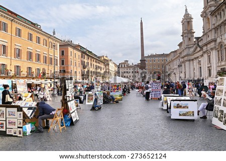 ROME, ITALY - APRIL 19, 2015: Piazza Navona on April 19, 2015. Piazza Navona is one of the most famous squares of Rome - stock photo