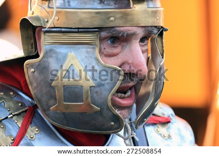 ROME, ITALY - APRIL 21, 2015:  Rome Foundation Anniversary historical reconstruction, Roman legionary closeup - stock photo