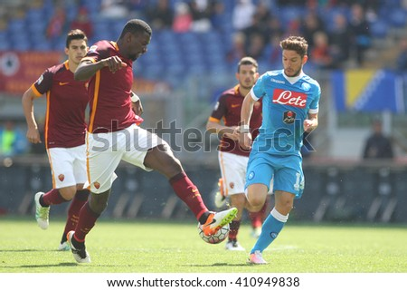 ROME, ITALY - April 2016 :Rudiger and Mertens  in action during fotball match  serie A  League 2015/2016 between A.s. Roma  vs Napoli  at the Olimpic Stadium  on april 25, 2016 in Rome. - stock photo