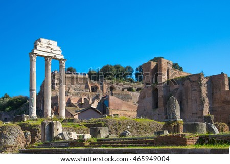 ROME, ITALY - APRIL 8, 2016: Ruins and Columns the Temple of Castor and Pollux Roman's forum with ruins of important ancient government buildings started 7th century BC