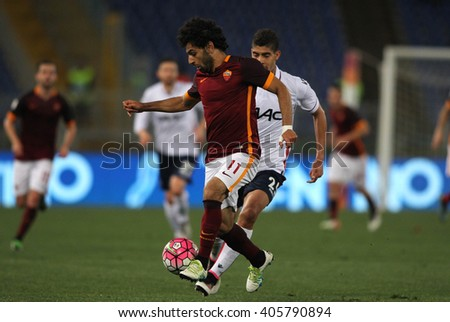 ROME, ITALY - April 2016 : Salah in action during fotball match  serie A  League 2015/2016 between A.s. Roma  vs Bologna  at the Olimpic Stadium  on April 11, 2016 in Rome.