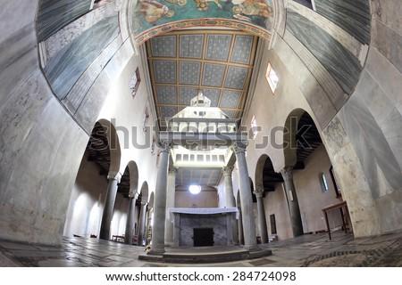 ROME, ITALY - APRIL 21, 2015:  San Giorgio al Velabro ancient romanesque church interior view from the Apse - stock photo
