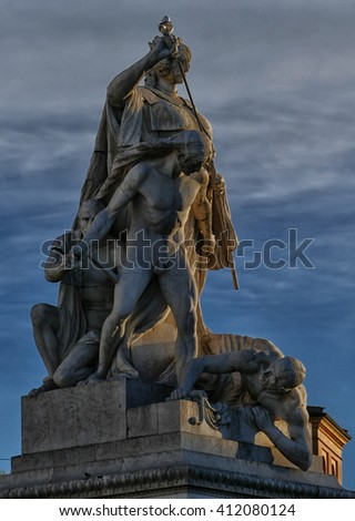 ROME, ITALY - APRIL 12, 2016: Statues at the Altare della Patria monument to Victor Emmanuel II, Rome , Italy. This eclectic structure includes sculptures by Leonardo Bistolfi and Angelo Zanelli.