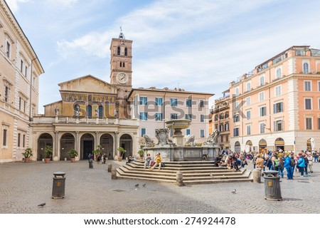 Rome, Italy - April 8, 2015: The Basilica of Our Lady in Trastevere Basilica di Santa Maria in Trastevere , a titular minor basilica and one of the oldest Churches of Rome, Italy - stock photo