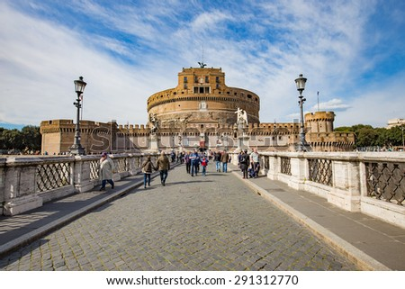 Rome, Italy - April 9, 2015: The Mausoleum of Hadrian, usually known as Castel Sant'Angelo is a towering cylindrical building in Parco Adriano, Rome, Italy. - stock photo