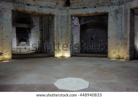 ROME, ITALY - APRIL 5, 2015: the octagonal room of the Domus Aurea, the famous Nero's palace on the slopes of the Esquiline hill