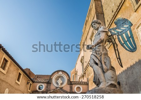 ROME, ITALY - APRIL 16, 2013: The original marble statue of the angel by Raffaello da Montelupo. The Mausoleum of Hadrian (Castle of the Holy Angel, Castel Sant'Angelo). Rome, Italy. - stock photo