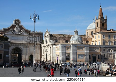 ROME, ITALY - APRIL 10, 2012: Tourists visit Piazza del Popolo in Rome. According to Euromonitor, Rome is the 3rd most visited city in Europe (5.5m international tourist arrivals 2009)