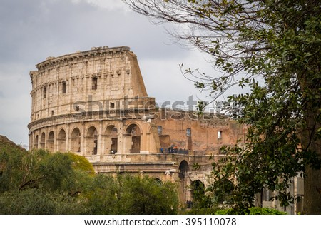 Rome, Italy - 4 April 2015:  View of tourists visiting the Roman Colosseum on a spring day.