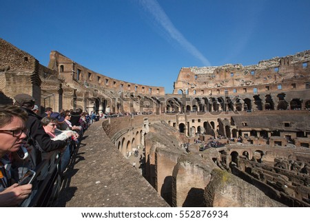 Rome, Italy April 2015 -Wide Angle View of Colosseum  with Blue Sky