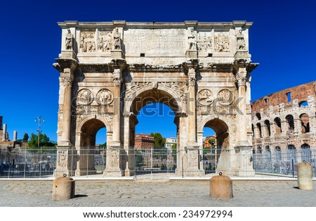 Rome, Italy. Arch of Constantine, ancient construction of emperor victory over Maxentius in 312AD, Roman Empire.