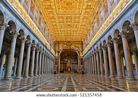 Rome, Italy - August 17, 2016: Basilica of Saint Paul Outside the Walls is one of Rome's four ancient major basilicas or papal basilicas, Rome Italy