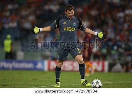 Rome, Italy 23 august, 2016: Casillas in action during the  Uefa Champions league match between A.s. Roma vs F.c. Porto at Olympic Stadium in Rome on August,  2016.