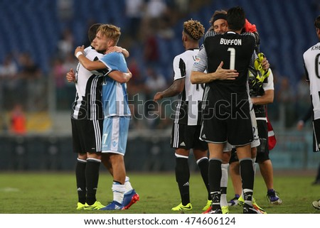 Rome, Italy 27 august, 2016: Juventus celebrates victory  at end Italian Serie A league match between S.s Lazio vs Juventus  at Olympic Stadium in Rome on August,  2016.