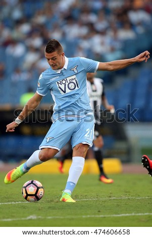 Rome, Italy 27 august, 2016: Milinkovic in action during Italian Serie A league match between S.s Lazio vs Juventus  at Olympic Stadium in Rome on August,  2016.