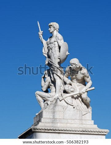 Rome, Italy - August 13, 2016: Sculptural group at the Altar of the Fatherland, Altare della Patria, also known as the National Monument to Victor Emmanuel II, Rome Italy