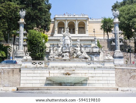 ROME, ITALY - AUGUST 26, 2016: Statues of the Goddess of Rome  fountain and the Pincio terrace in Piazza del Popolo, Rome, Italy, August 26, 2016