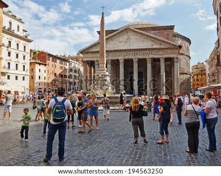 ROME, ITALY-AUGUST 28. Temple of all Gods in Rome August 28 2013.Panteon is famous monument of ancient Roman culture, built in the 2nd century. - stock photo