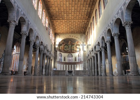 ROME, ITALY - AUGUST 17, 2014:  The Basilica of Saint Sabina interior this historical church was built  during the 5th century on the Aventine Hill - stock photo