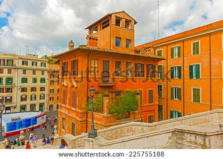 Rome, Italy - August 31, 2014: Tourists  on Spanish steps on Piazza di Spagna in Rome, Italy on August 31, 2014.