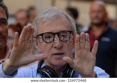 "ROME, ITALY - AUGUST 12, 2011: US Director Woody Allen during the filming of the movie ""To Rome with Love"". - stock photo"