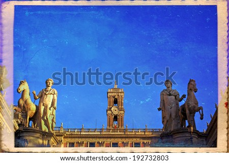 Rome, Italy. Capitol Hill, one of the hills of ancient Rome, where in ancient times was the Senate
