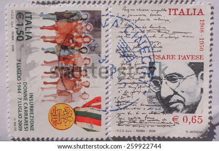 ROME, ITALY- CIRCA DECEMBER 2014: stamps from Italy - stock photo